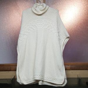 Chunky sweater dress. Ralph Lauren cream cowl neck